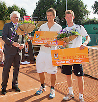 2013-08-17, Netherlands, Raalte,  TV Ramele, Tennis, NRTK 2013, National Ranking Tennis Champ,  Runners up doubles: Janick Lupescu &reg; and Sander Arends left Floris Jonkers<br /> <br /> Photo: Henk Koster