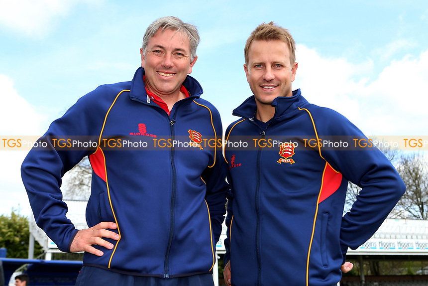 Essex head coach Chris Silverwood (L) welcomes new signing Neil Wagner to the ground during the Essex CCC Press Day at The Cloudfm County Ground on 5th April 2017