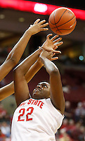 Ohio State's Darryce Moore (22) can't get the ball during a women's basketball game between the Ohio State Buckeyes and the North Carolina Central Eagles on December 29, 2013 at Value City Arena. (Columbus Dispatch photo by Fred Squillante)