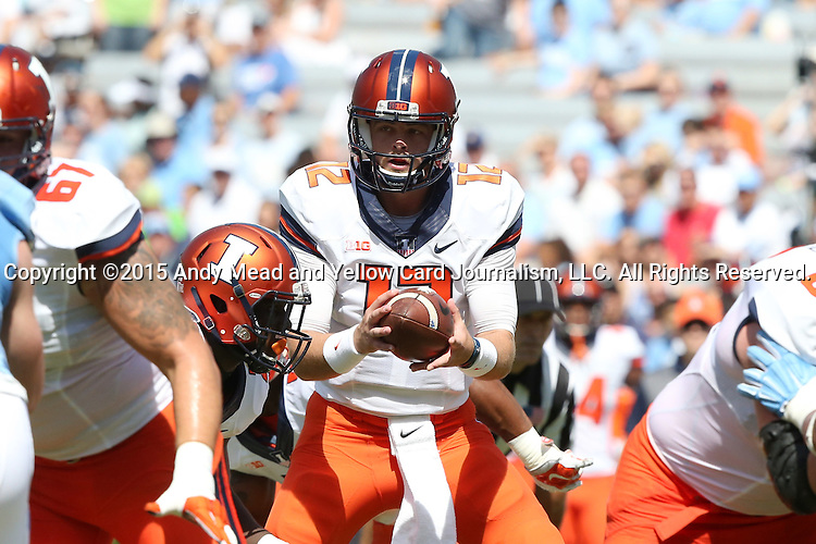 19 September 2015: Illinois' Wes Lunt. The University of North Carolina Tar Heels hosted the University of Illinois Fighting Illini at Kenan Memorial Stadium in Chapel Hill, North Carolina in a 2015 NCAA Division I College Football game. UNC won the game 48-14.