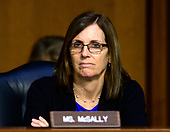 """United States Senator Martha McSally (Republican of Arizona) listens to testimony before the US Senate Committee on Armed Services during a hearing on """"Chain of Command's Accountability to Provide Safe Military Housing and Other Building Infrastructure to Service members and Their Families"""" on Capitol Hill in Washington, DC on Thursday, March 7, 2019.<br /> Credit: Ron Sachs / CNP"""