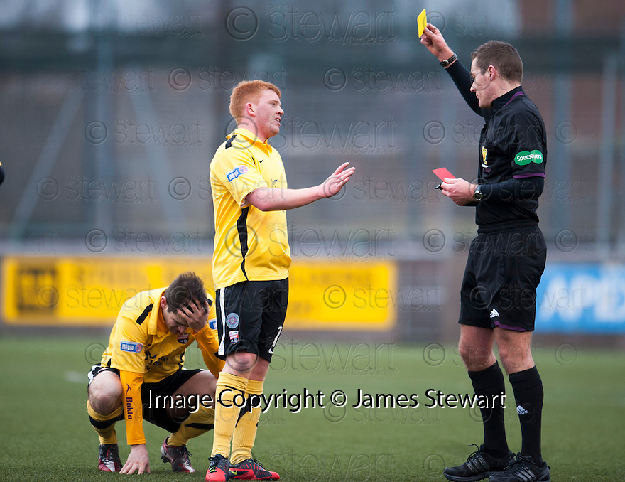 Montrose's Paul Lunan receives a second yellow card after leaving the field of play to celebrate Paul Watson winning goal with his supporters.