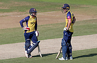 Adam Wheater (left) and Daniel Lawrence of Essex rest between overs during Hampshire vs Essex Eagles, Vitality Blast T20 Cricket at the Ageas Bowl on 25th August 2019
