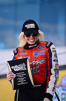 Sept. 14, 2012; Concord, NC, USA: NHRA funny car driver Courtney Force during qualifying for the O'Reilly Auto Parts Nationals at zMax Dragway. Mandatory Credit: Mark J. Rebilas-