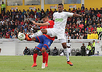 IPIALES-COLOMBIA ,17-02-2019.Carlos Hidalgo (Izq.) jugador  del Deportivo Pasto disputa el balón con Leonardo Escorcia (Der.) jugador de Jaguares de Córdoba durante partido por la fecha 5 de la Liga Águila I 2019 jugado en el estadio Municipal de Ipiales./ Carlos Hidalgo  (L) player of Deportivo Pasto   fights for the ball with Leonardo Escorcia (R) of Jagures of Cordoba during the match for the date 5 of the Aguila League I 2019 played at Municipal stadium in Ipiales city. Photo: VizzorImage/ Leonardo Castro / Contribuidor