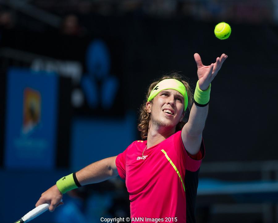 Lukas Lacko (SVK)<br /> <br /> Tennis - Australian Open 2015 - Grand Slam -  Melbourne Park - Melbourne - Victoria - Australia  - 21 January 2015. <br /> &copy; AMN IMAGES
