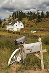 White barn, mailboxes, Deer Creek Valley Ranch, Colorado.