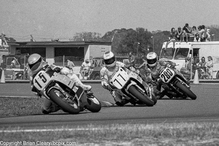Keith Huewen (#15 Yamaha), Mark Chin (#77 Yamaha), Britt Tarkington (#280 Suzuki)Daytona 200, Daytona International Speedway, March 8, 1987.  (Photo by Brian Cleary/bcpix.com)