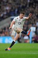 Owen Farrell kicks England's only points of the first half during the QBE International match between England and South Africa at Twickenham Stadium on Saturday 15th November 2014 (Photo by Rob Munro)