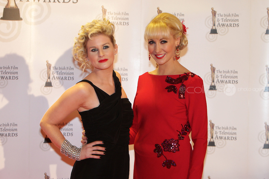 12/2/11 Sinead Kennedy and Emma O'Driscoll on the red carpet at the 8th Irish Film and Television Awards at the Convention centre in Dublin. Picture:Arthur Carron/Collins
