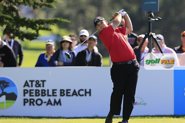 Patrick Reed (USA) tees off the 14th tee at Pebble Beach Golf Links during Sunday's Final Round 4 of the 2017 AT&amp;T Pebble Beach Pro-Am held over 3 courses, Pebble Beach, Spyglass Hill and Monterey Penninsula Country Club, Monterey, California, USA. 12th February 2017.<br /> Picture: Eoin Clarke | Golffile<br /> <br /> <br /> All photos usage must carry mandatory copyright credit (&copy; Golffile | Eoin Clarke)