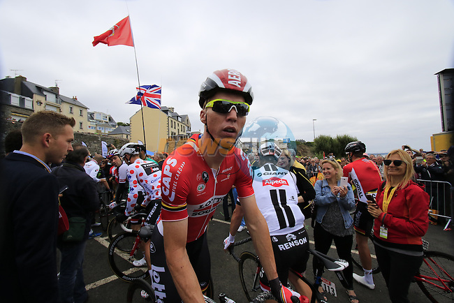 Marcel Sieberg (GER) Lotto-Soudal at sign on before the start of Stage 3 of the 2016 Tour de France, running 223.5km from Granville to Angers, France . 4th July 2016.<br /> Picture: Eoin Clarke | Newsfile<br /> <br /> <br /> All photos usage must carry mandatory copyright credit (&copy; Newsfile | Eoin Clarke)
