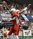 SIOUX FALLS, SD - JUNE 23:  James Terry #9 from the Sioux Falls Storm celebrates a touchdown with teammate Clinton Solomon #1 in the first quarter of their first round playoff game against the Lee Valley Steelhawks Saturday night at the Sioux Falls Arena. (Photo by Dave Eggen/Inertia)