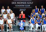 DES MOINES, IA - AUGUST 17: Iowa Governor Kim Reynolds addresses the crowd during the opening ceremony at the 2017 Solheim Cup in Des Moines, IA. (Photo by Dave Eggen/Inertia)