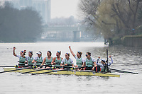 Greater London. United Kingdom, Cambridge Blue boat celebrate. University Boat Races , Cambridge University vs Oxford University. Putney to Mortlake,  Championship Course, River Thames, London. <br /> <br /> Saturday  24.03.18<br /> <br /> [Mandatory Credit  Intersport Images]