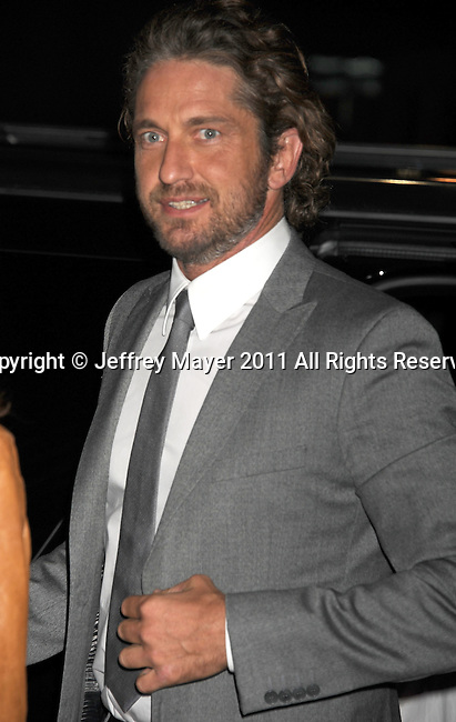 "BEVERLY HILLS, CA - SEPTEMBER 21: Gerard Butler attends the ""Machine Gun Preacher"" Los Angeles Premiere at the Academy of Television Arts & Sciences on September 21, 2011 in Beverly Hills, California."