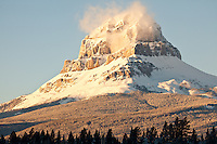 Early morning light on mountain near Blairsmore, Alberta, Canada
