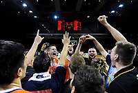 The Sharks celebrate winning the national basketball league final  between Wellington Saints and Southland Sharks at TSB Bank Arena in Wellington, New Zealand on Sunday, 5 August 2018. Photo: Dave Lintott / lintottphoto.co.nz