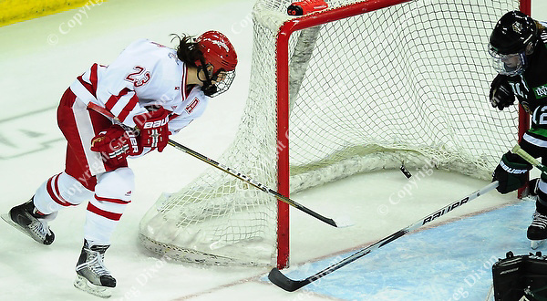 Badger junior, Hilary Knight, scores past Sioux player Ashley Holmes, as the University of Wisconsin women's hockey team tops North Dakota 8-4 on Sunday, 2/13/11, at the Kohl Center in Madison, Wisconsin