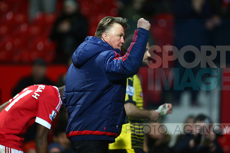 Louis Van Gaal, manager of Manchester United pumps his fist in celebration - Barclay's Premier League - Manchester United vs Watford - Old Trafford - Manchester - 02/03/2016 Pic Philip Oldham/SportImage