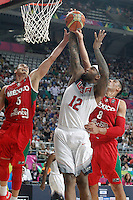 USA's DeMarcus Cousins (c) and Mexico's Marco Ramos (l) and Gustavo Ayon during 2014 FIBA Basketball World Cup Round of 16 match.September 6,2014.(ALTERPHOTOS/Acero)