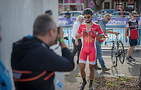 Nacer Bouhanni (FRA/Cofidis) finished 3rd &amp; walks towards teh press tent after the race<br /> <br /> Brussels Cycling Classic 2016
