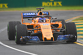 24th March 2018, Melbourne Grand Prix Circuit, Melbourne, Australia; Melbourne Formula One Grand Prix, qualifying; Fernando Alonso of Spain driving the (14) McLaren F1 Team MCL33 Renault