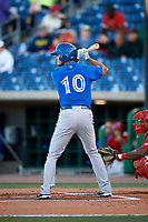 Dunedin Blue Jays designated hitter Max Pentecost (10) at bat during a game against the Clearwater Threshers on April 7, 2017 at Spectrum Field in Clearwater, Florida.  Dunedin defeated Clearwater 7-4.  (Mike Janes/Four Seam Images)