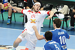 25.01.2013 Barcelona, Spain. IHF men's world championship, Semi-final. Picture show Mikkel Hansen  in action during game between Spain vs Slovenia at Palau St. Jordi