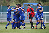 Taylor Tombides of Redbridge scores the first goal for his team and celebrates with his team mates during Redbridge vs Saffron Walden Town, Essex Senior League Football at Oakside Stadium on 7th September 2019