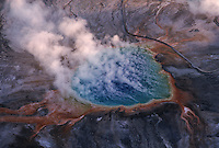 Aerials of Grand Prismatic Geyser.  Yellowstone is the nations first National Park, it spans three states and holds 70% of the world's geothermal activity.