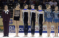 October 19, 2001; Madrid, Spain:  (L-R) Olena Dzyubchuk, Tamara Yerofeeva, Anna Bessonova, Natalia Godunko are team Ukraine...also (to right) Olga Belova, Irina Tchachina of team Russia. About to receive team medals at 2001 World Championships at Madrid.