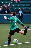 Rochester, NY - Friday April 29, 2016: Washington Spirit goalkeeper Stephanie Labbe (1). The Washington Spirit defeated the Western New York Flash 3-0 during a National Women's Soccer League (NWSL) match at Sahlen's Stadium.