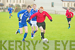 St Brendan's Park's Tom McLoughlin and Killarney Celtic's Cian Leonaird.