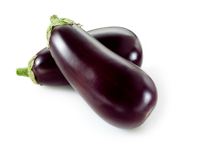 Fresh whole aubergines