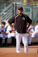 Jupiter Hammerheads pitching coach Bruce Walton (53) before a game against the Palm Beach Cardinals on August 4, 2018 at Roger Dean Chevrolet Stadium in Jupiter, Florida.  Palm Beach defeated Jupiter 7-6.  (Mike Janes/Four Seam Images)