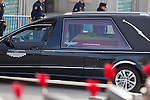 Former Spanish Prime Minister Adolfo Suarez coffin arrives to the Spanish Parliament in Madrid, Spain. March 24, 2014. (ALTERPHOTOS/Victor Blanco)