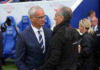 Pictured (L-R): Leicester manager Claudio Ranieri greets Francesco Guidolin, Manager of Swansea City Saturday 27 August 2016<br />Re: Swansea City FC v Leicester City FC Premier League game at the King Power Stadium, Leicester, England, UK