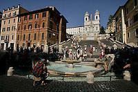 Piazza di Spagna with Fontana della Barcaccia, Rome.