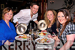 FOOD: Lee Bradshaw serving glorious food at Station House Bar and Restaurant on Saturday night; to Georgina Brosnan, Denise Hanbidge and Jillian Kerins..................