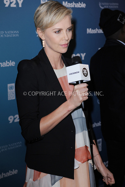 WWW.ACEPIXS.COM<br /> September 28, 2015 New York City<br /> <br /> Charlize Theron attends the 2015 Social Good Summit at 92Y on September 28, 2015 in New York City.<br /> <br /> Credit: Kristin Callahan/ACE Pictures<br /> <br /> Tel: (646) 769 0430<br /> e-mail: info@acepixs.com<br /> web: http://www.acepixs.com