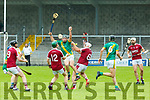 Maurice O'Connor Kilmoyley claims the dropping ball ahead of Billy Lyons and Jason Diggins Cromane  during their SHC clash at Austin Stack Park on Sunday