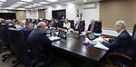 Palestinian Prime Minister Rami Hamdallah chairs a meeting of council of Ministers, in the West Bank city of Ramallah on May 22, 2018. Photo by Prime Minister Office