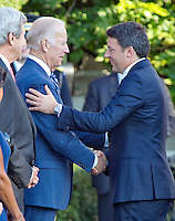 United States Vice President Joe Biden greets Prime Minister Matteo Renzi of Italy at the start of an Official Arrival Ceremony in the Prime Minister's honor on the South Lawn of the the White House in Washington, DC on Tuesday, October 18, 2016. <br /> Credit: Ron Sachs / CNP /MediaPunch