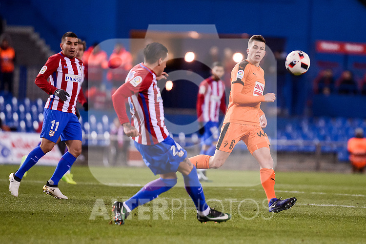 Atletico de Madrid's José María Giménez and Ángel Martín Correa and SD Eibar's Cristian Rivera during Copa del Rey match between Atletico de Madrid and SD Eibar at Vicente Calderon Stadium in Madrid, Spain. January 19, 2017. (ALTERPHOTOS/BorjaB.Hojas)