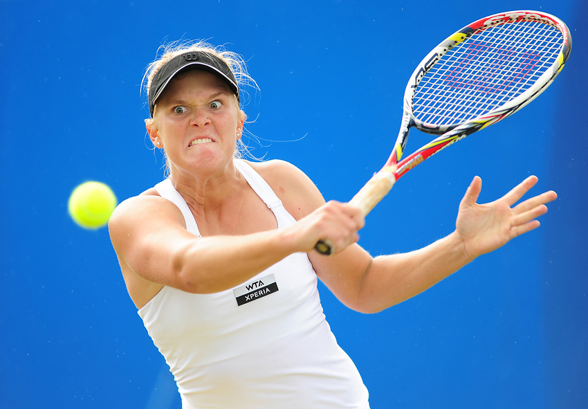 Melanie Oudin USA in action during her victory over Ekaterina Makarova RUS [8] in their Women's Singles Semifinal match - Melanie Oudin USA def Ekaterina Makarova RUS [8] 6-4 3-6 6-2<br /> <br /> International Womens Tennis - 2012 WTA Tour - The AEGON Classic - Edgbaston Priory Club - Birmingham - Day 7 - Sunday 17th Jun 2012<br /> <br /> © CameraSport - 43 Linden Ave. Countesthorpe. Leicester. England. LE8 5PG - Tel: +44 (0) 116 277 4147 - admin@camerasport.com - www.camerasport.com
