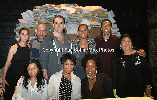 """Cast - Left to Right front: Julissa Roman, Guiding Light Kim Brockington, Lynnette R. Freeman - back: Kimber Riddle, Bobby Plasencia, Steven Rishard, Yvonna Wright (GL), Peter Jay Fernandez (judge of GL) and Teresa Yenque star in """"Luz"""" presented by La MaMa at the First Floor Theatre, New York City, New York on opening night on October 3, 2012.  (Photo by Sue Coflin/Max Photos)"""