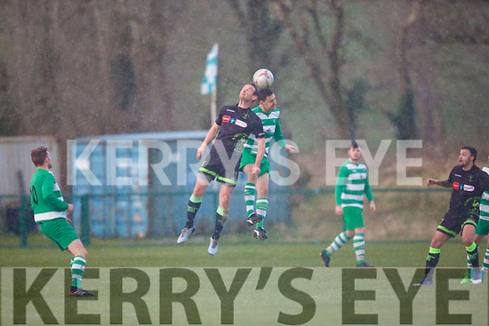 Killarney Celtic vNorth End and the hailstone during their FAI cup clash in Killarney on Sunday.