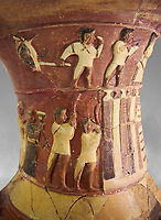 Hüseyindede vases, Old Hittite Polychrome Relief vessel close up  depicting top and second friezes showing a procession of musicians and dancers moving towards a temple building, 16th century BC. Huseyindede. Çorum Archaeological Museum, Corum, Turkey. Against a grey bacground.