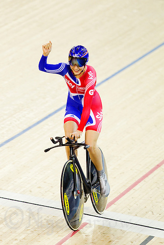 18 FEB 2012 - LONDON, GBR - Great Britain's Joanna Roswell (GBR) celebrates winning the Women's Individual Pursuit in a time of 3:32:364 during the UCI Track Cycling World Cup, and London Prepares test event for the 2012 Olympic Games, at the Olympic Park Velodrome in Stratford, London, Great Britain .(PHOTO (C) 2012 NIGEL FARROW)